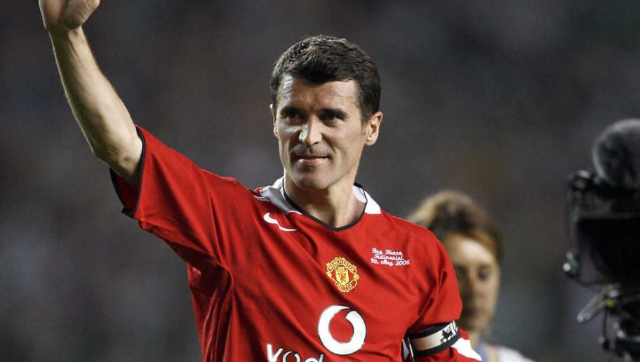 Roy Keane leaves the pitch at the end of