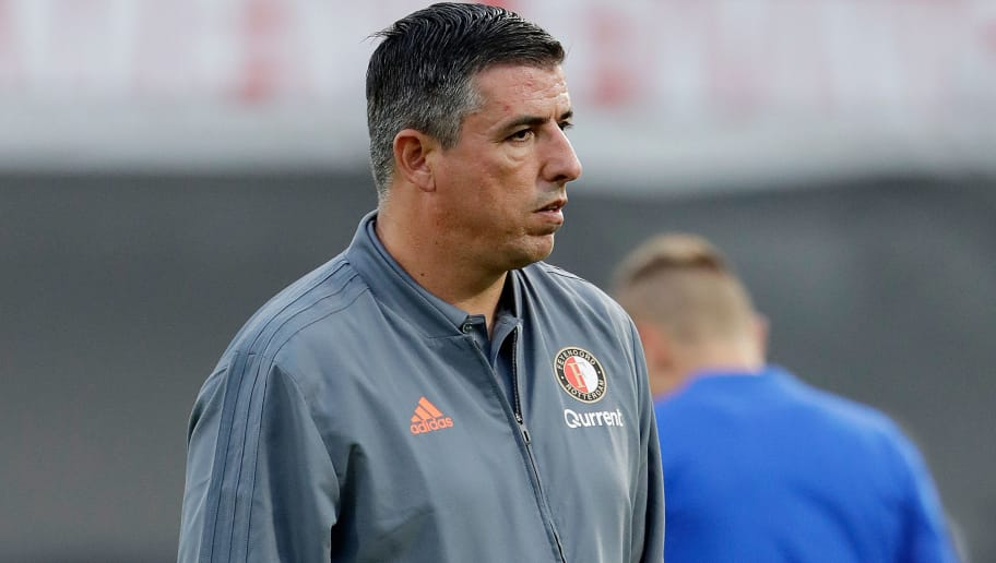 ROTTERDAM, NETHERLANDS - AUGUST 16: assistant trainer Roy Makaay of Feyenoord during the UEFA Europa League   match between Feyenoord v FK AS Trencin at the Stadium Feijenoord on August 16, 2018 in Rotterdam Netherlands (Photo by Soccrates/Getty Images)