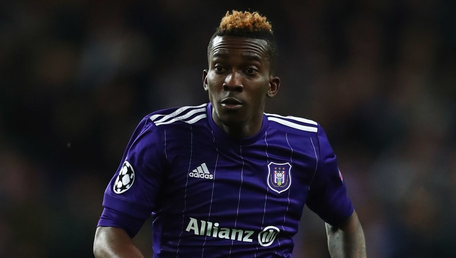 BRUSSELS, BELGIUM - NOVEMBER 22:  Henry Onyekuru of Anderlecht in action during the UEFA Champions League group B match between RSC Anderlecht and Bayern Muenchen at Constant Vanden Stock Stadium on November 22, 2017 in Brussels, Belgium.  (Photo by Dean Mouhtaropoulos/Getty Images)