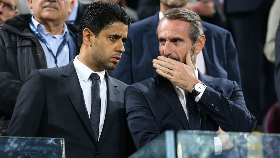 BRUSSELS, BELGIUM - OCTOBER 18: President of PSG Nasser Al Khelaifi, Director of PSG Jean-Claude Blanc attend the UEFA Champions League match between RSC Anderlecht and Paris Saint Germain (PSG) at Constant Vanden Stock Stadium on October 18, 2017 in Anderlecht, Brussels, Belgium. (Photo by Jean Catuffe/Getty Images)