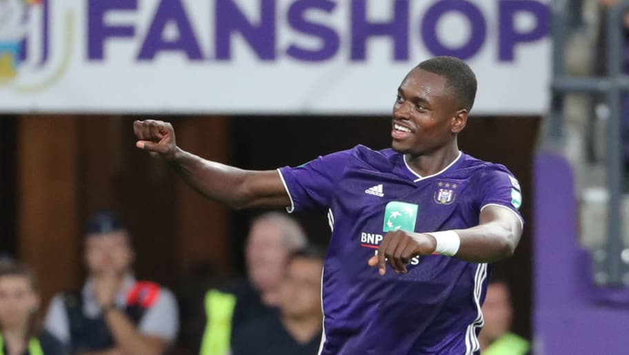 BRUSSELS, BELGIUM - AUGUST 17: Landry Dimata celebrates after scoring a goal during the Jupiler Pro League match between RSC Anderlecht and Royal Excel Mouscron at Constant Vanden Stock Stadium on August 17, 2018 in Brussels, Belgium. (Photo by Vincent Van Doornick/Isosport/MB Media/Getty Images )