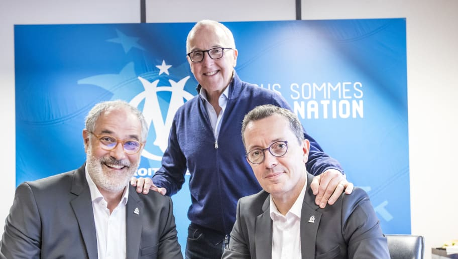 MARSEILLE, FRANCE - OCTOBER 28:  Andoni Zubizaretta signs his contract extension with Olympique de Marseille in the presence of Jacques-Henry Eyraud and Franck McCourt on October 28, 2018 in Marseille, France.  (Photo by Guillaume Ruoppollo - OM/Getty Images)