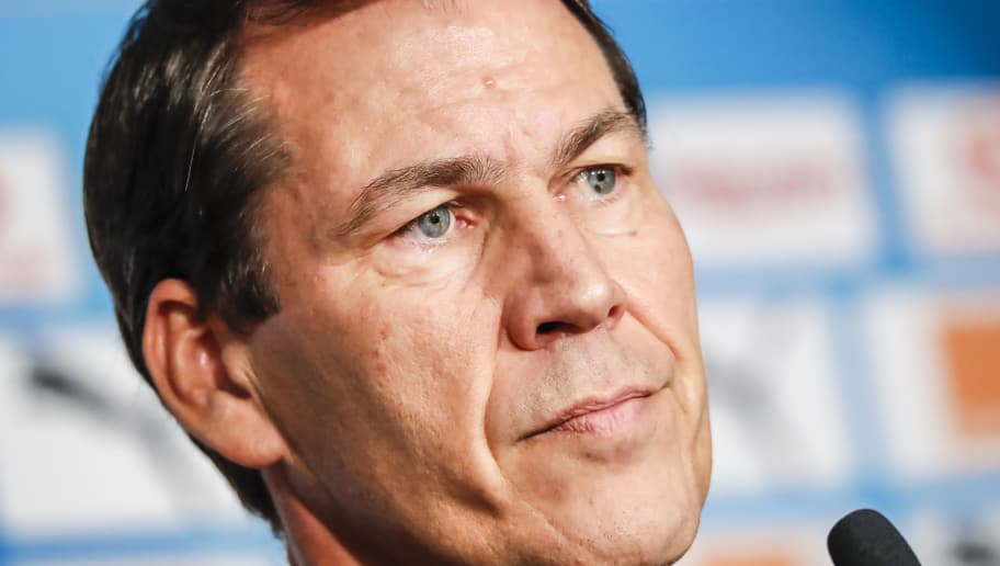 MARSEILLE, FRANCE - NOVEMBER 02:  Olympique de Marseille head coach Rudi Garcia answers journalists during a press conference at Centre Robert-Louis Dreyfus on November 2, 2018 in Marseille, France.  (Photo by Guillaume Ruoppolo - OM/Getty Images)