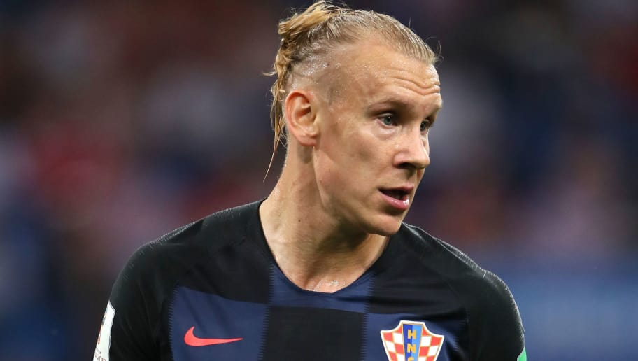 SOCHI, RUSSIA - JULY 07:   Domagoj Vida of Croatia in action during the 2018 FIFA World Cup Russia Quarter Final match between Russia and Croatia at Fisht Stadium on July 7, 2018 in Sochi, Russia. (Photo by Matthew Ashton - AMA/Getty Images)