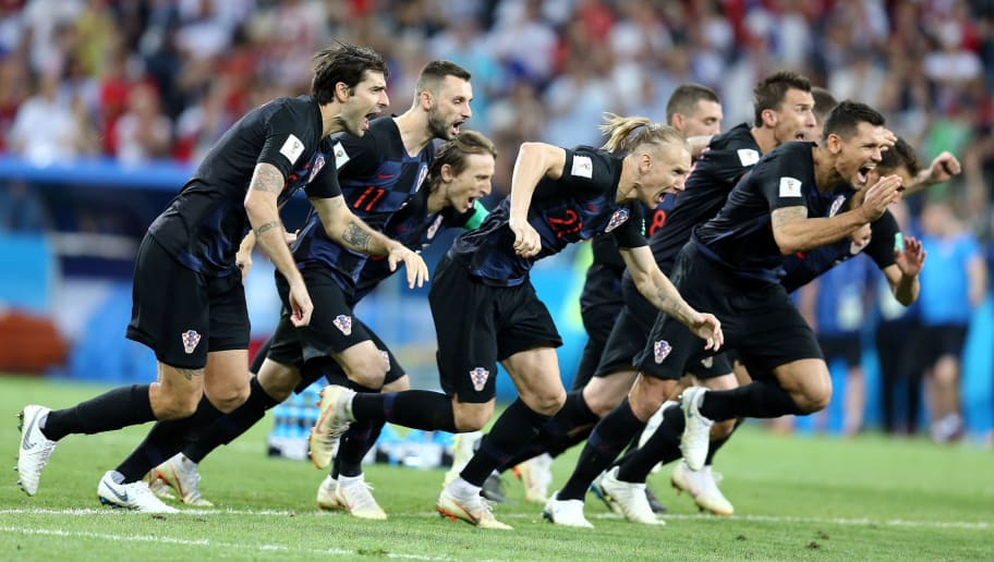 SOCHI, RUSSIA - JULY 07: Croatia players celebrate winning the penalty shoot out   during the 2018 FIFA World Cup Russia Quarter Final match between Russia and Croatia at Fisht Stadium on July 7, 2018 in Sochi, Russia. (Photo by Koji Watanabe/Getty Images)