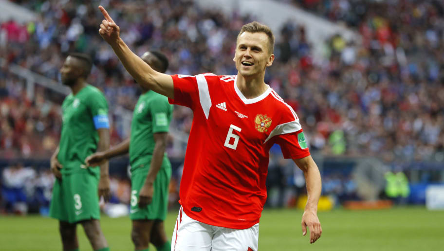 MOSCOW, RUSSIA - JUNE 14:  Denis Cheryshev of Russia celebrates scoring his sides fourth goal of the game during the 2018 FIFA World Cup Russia Group A match between Russia and Saudi Arabia at Luzhniki Stadium on June 14, 2018 in Moscow, Russia.  (Photo by Kevin C. Cox/Getty Images)
