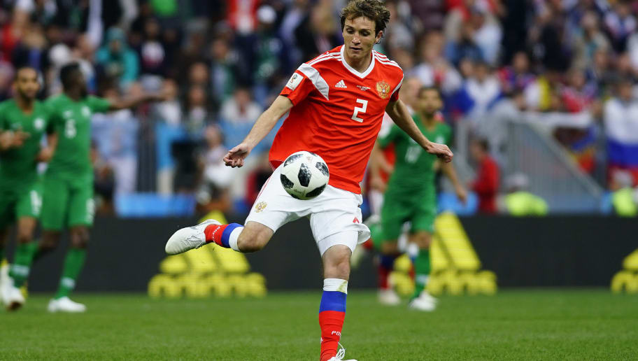 MOSCOW, RUSSIA - JUNE 14: Mario Fernandes of Russia kicks the ball during the 2018 FIFA World Cup Russia group A match between Russia and Saudi Arabia at Luzhniki Stadium on June 14, 2018 in Moscow, Russia. (Photo by Carlos Cuin/Jam Media/Getty Images )