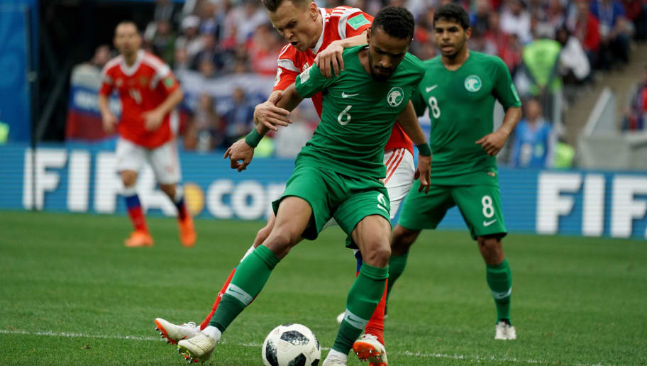 MOSCOW, RUSSIA - JUNE 14: Mohd Alburayk of Saudi Arabia competes for the ball during the 2018 FIFA World Cup Russia group A match between Russia and Saudi Arabia at Luzhniki Stadium on June 14, 2018 in Moscow, Russia.  (Photo by Allsport Co./Getty Images)