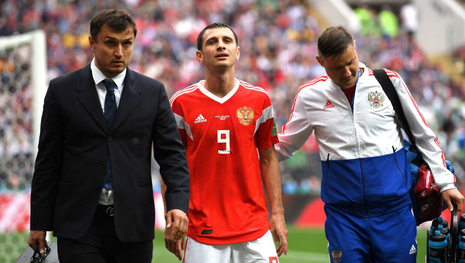 MOSCOW, RUSSIA - JUNE 14:  Alan Dzagoev of Russia walks off injured and is sustituted during the 2018 FIFA World Cup Russia Group A match between Russia and Saudi Arabia at Luzhniki Stadium on June 14, 2018 in Moscow, Russia.  (Photo by Matthias Hangst/Getty Images)