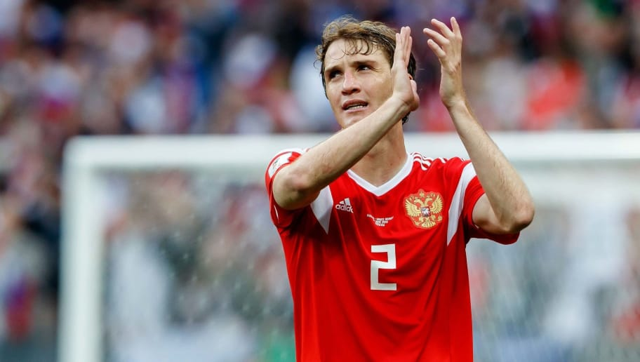 MOSCOW, RUSSIA - JUNE 14: Mario Fernandes of Russia gestures after the 2018 FIFA World Cup Russia group A match between Russia and Saudi Arabia at Luzhniki Stadium on June 14, 2018 in Moscow, Russia. (Photo by TF-Images/Getty Images)