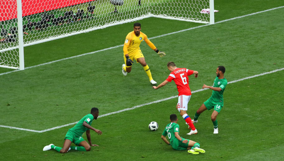 MOSCOW, RUSSIA - JUNE 14: Denis Cheryshev of Russia score a goal to make it 2-0 during the 2018 FIFA World Cup Russia group A match between Russia and Saudi Arabia at Luzhniki Stadium on June 14, 2018 in Moscow, Russia. (Photo by Robbie Jay Barratt - AMA/Getty Images)