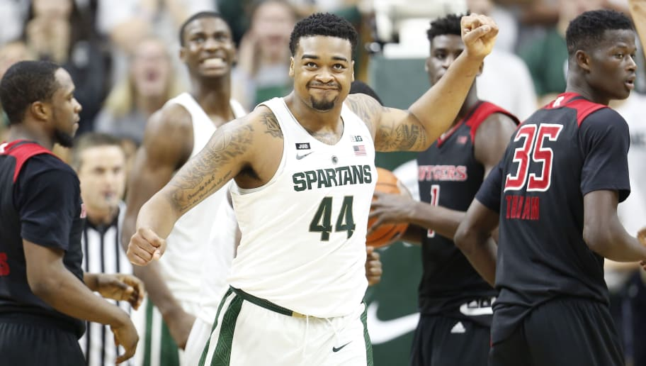 EAST LANSING, MI - JANUARY 10: Nick Ward #44 of the Michigan State Spartans reacts to a call during a game against the Rutgers Scarlet Knights at Breslin Center on January 10, 2018 in East Lansing, Michigan. (Photo by Rey Del Rio/Getty Images)