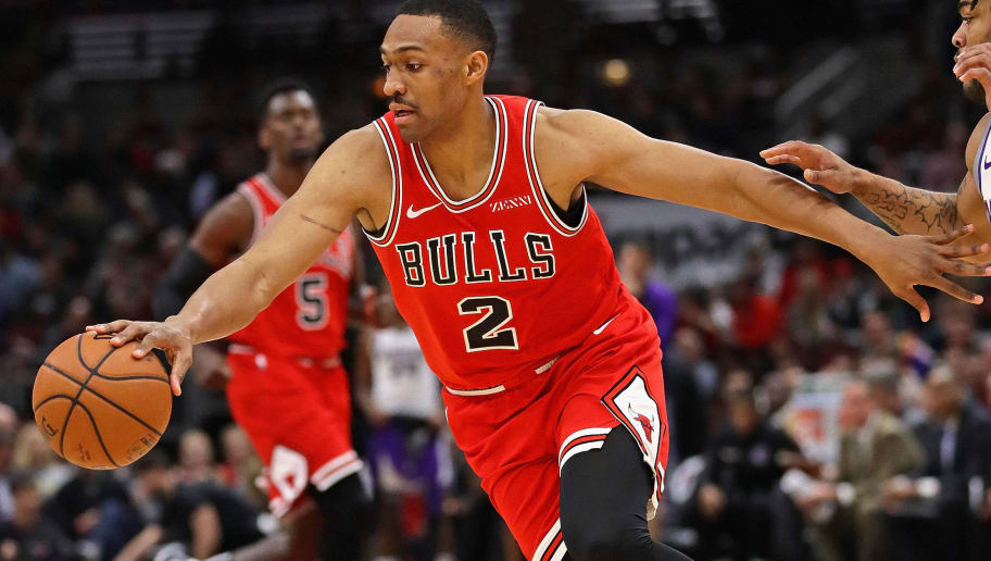 CHICAGO, ILLINOIS - DECEMBER 10: Jabari Parker #2 of the Chicago Bulls moves away from Frank Mason III #10 of the Sacramento Kings at the United Center on December 10, 2018 in Chicago, Illinois. NOTE TO USER: User expressly acknowledges and agrees that, by downloading and or using this photograph, User is consenting to the terms and conditions of the Getty Images License Agreement.  (Photo by Jonathan Daniel/Getty Images)