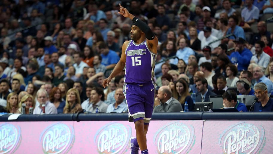 DALLAS, TX - OCTOBER 20:  Vince Carter #15 of the Sacramento Kings reacts to a shot against the Dallas Mavericks in the second half at American Airlines Center on October 20, 2017 in Dallas, Texas. NOTE TO USER: User expressly acknowledges and agrees that, by downloading and or using this photograph, User is consenting to the terms and conditions of the Getty Images License Agreement.  (Photo by Tom Pennington/Getty Images)