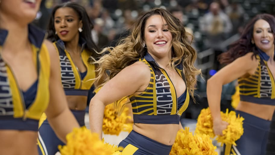 INDIANAPOLIS, IN - DECEMBER 08: An Indiana Pacers Pacemate dances during the game against the Sacramento Kings at Bankers Life Fieldhouse on December 8, 2018 in Indianapolis, Indiana. (Photo by Michael Hickey/Getty Images)