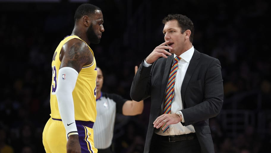 LOS ANGELES, CA - OCTOBER 04: Head coach Luke Walton of the Los Angeles talks with LeBron James #23 during a pre-season basketball game against Sacramento Kingsat Staples Center on October 4, 2018 in Los Angeles, California. NOTE TO USER: User expressly acknowledges and agrees that, by downloading and or using this photograph, User is consenting to the terms and conditions of the Getty Images License Agreement. (Photo by Kevork Djansezian/Getty Images)