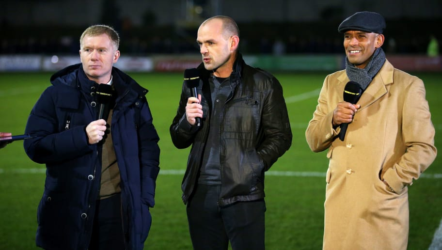 SALFORD, ENGLAND - DECEMBER 04:  The BBC pundits (L-R) Paul Scholes, part owner of Salford City and former players Danny Murphy and Trevor Sinclair talk prior to the Emirates FA Cup Second Round match between Salford City and Hartlepool United at Moor Lane on December 4, 2015 in Salford, England.  (Photo by Alex Livesey/Getty Images)