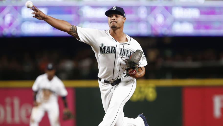 SEATTLE, WA - JULY 31:  Sam Tuivailala #62 of the Seattle Mariners pitches during the seventh inning in his debut for the team against the Houston Astros at Safeco Field on July 31, 2018 in Seattle, Washington. (Photo by Lindsey Wasson/Getty Images)