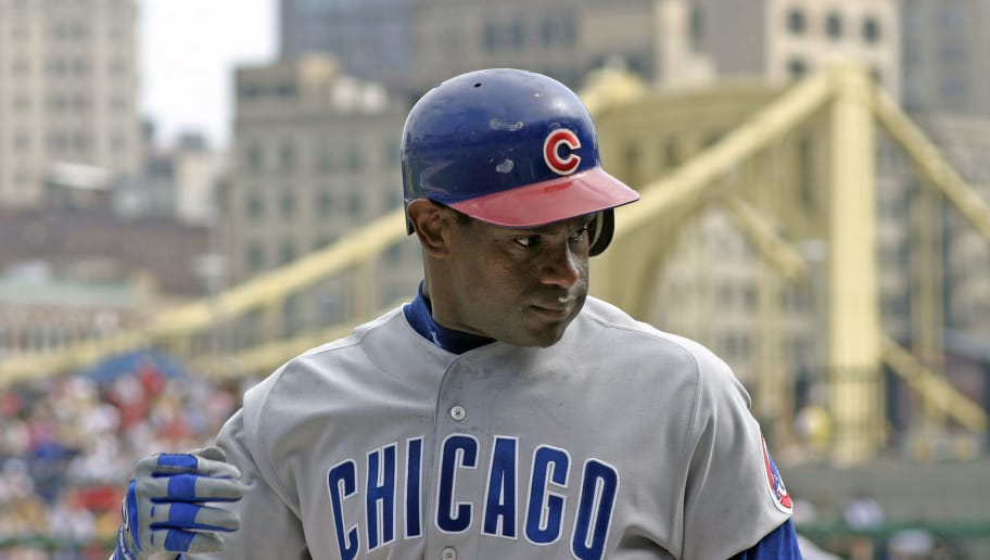 PITTSBURGH, PA - SEPTEMBER 21:  Sammy Sosa of the Chicago Cubs looks on from the field during a Major League Baseball game against the Pittsburgh Pirates at PNC Park on September 21, 2003 in Pittsburgh, Pennsylvania.  (Photo by George Gojkovich/Getty Images)