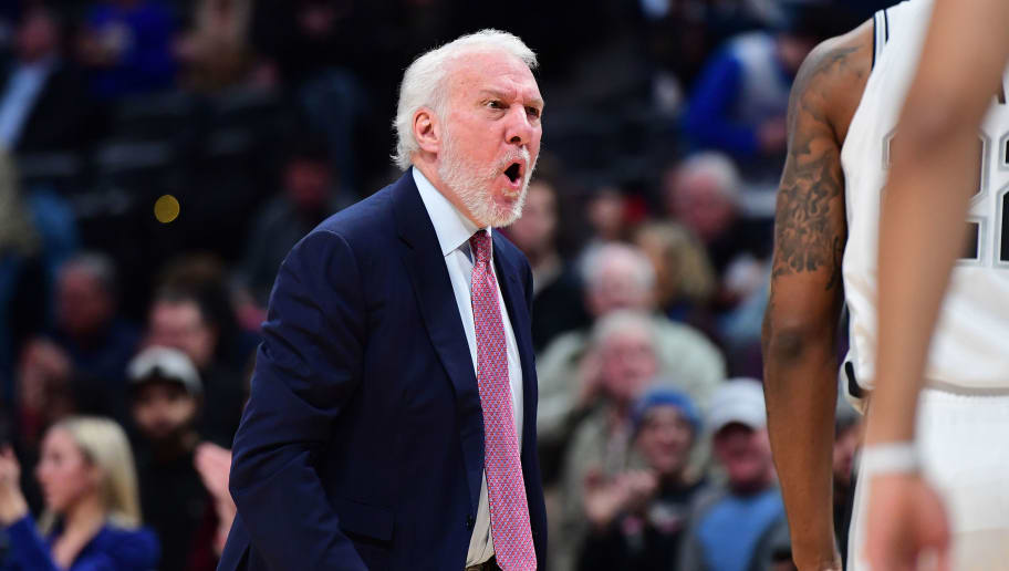 DENVER, CO - DECEMBER 28: Gregg Popovich of the San Antonio Spurs reacts to a play during the game against the Denver Nuggets at Pepsi Center on December 28, 2018 in Denver, Colorado.  NOTE TO USER: User expressly acknowledges and agrees that, by downloading and or using this photograph, User is consenting to the terms and conditions of the Getty Images License Agreement. (Photo by Justin Tafoya/Getty Images)