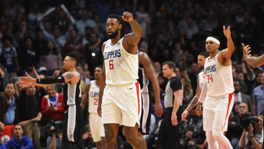 LOS ANGELES, CA - APRIL 03:   DeAndre Jordan #6 of the Los Angeles Clippers reacts on the court after blocking a shot and holding on to the lead with six seconds left in the game against the San Antonio Spurs at Staples Center on April 3, 2018 in Los Angeles, California. NOTE TO USER: User expressly acknowledges and agrees that, by downloading and or using this photograph, User is consenting to the terms and conditions of the Getty Images License Agreement.  (Photo by Jayne Kamin-Oncea/Getty Images)