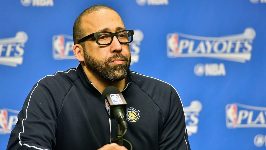 MEMPHIS, TN - APRIL 27:  Head coach David Fizdale of the Memphis Grizzlies speaks to the media prior to Game Six of the Western Conference Quarterfinals game against the San Antonio Spurs during the 2017 NBA Playoffs at FedExForum on April 27, 2017 in Memphis, Tennessee. NOTE TO USER: User expressly acknowledges and agrees that, by downloading and or using this photograph, User is consenting to the terms and conditions of the Getty Images License Agreement.  (Photo by Frederick Breedon/Getty Images)