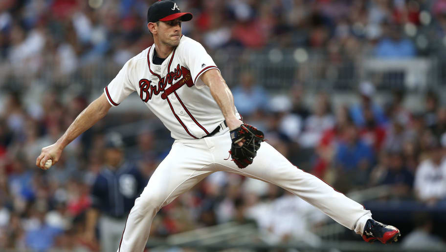 ATLANTA, GA - JUNE 15:  Pitcher Brandon McCarthy #32 of the Atlanta Braves pitches during the game against the San Diego Padres at SunTrust Park on June 15, 2018 in Atlanta, Georgia.  (Photo by Mike Zarrilli/Getty Images)