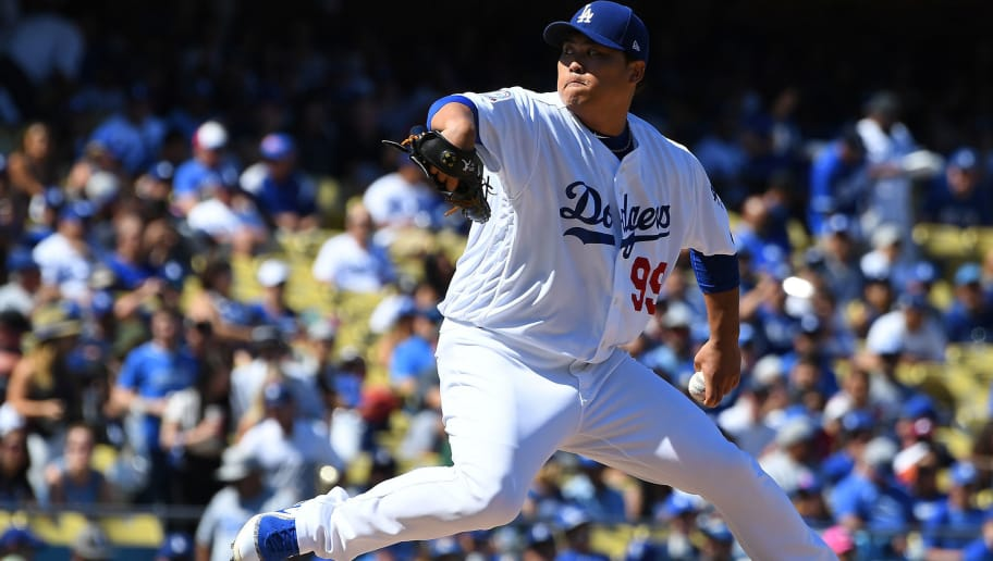LOS ANGELES, CA - SEPTEMBER 23:  Hyun-Jin Ryu #99 of the Los Angeles Dodgers pitches in the second inning of the game against the San Diego Padres at Dodger Stadium on September 23, 2018 in Los Angeles, California.  (Photo by Jayne Kamin-Oncea/Getty Images)