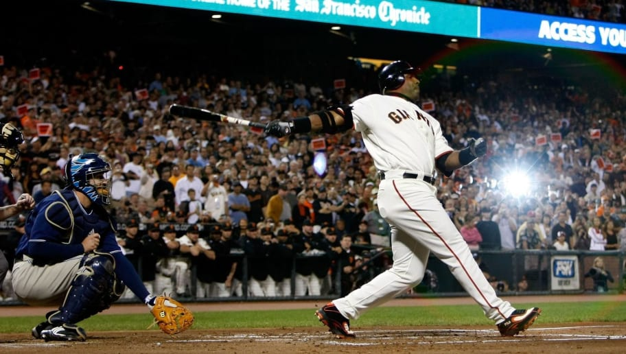 SAN FRANCISCO - SEPTEMBER 26:  Barry Bonds #25 of the San Francisco Giants swings at a pitch during the first inning against the San Diego Padres September 26, 2007 at AT&T Park in San Francisco, California. Tonight will be the final home game for Bonds as a member of the San Francisco Giants.  (Photo by Justin Sullivan/Getty Images)