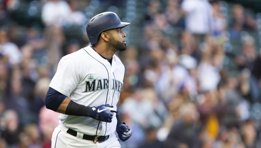 SEATTLE, WA - SEPTEMBER 12:  Nelson Cruz #23 of the Seattle Mariners watches his home run, also his 1,000th RBI, sail out of the field in the fifth inning against the San Diego Padres at Safeco Field on September 12, 2018 in Seattle, Washington. (Photo by Lindsey Wasson/Getty Images)