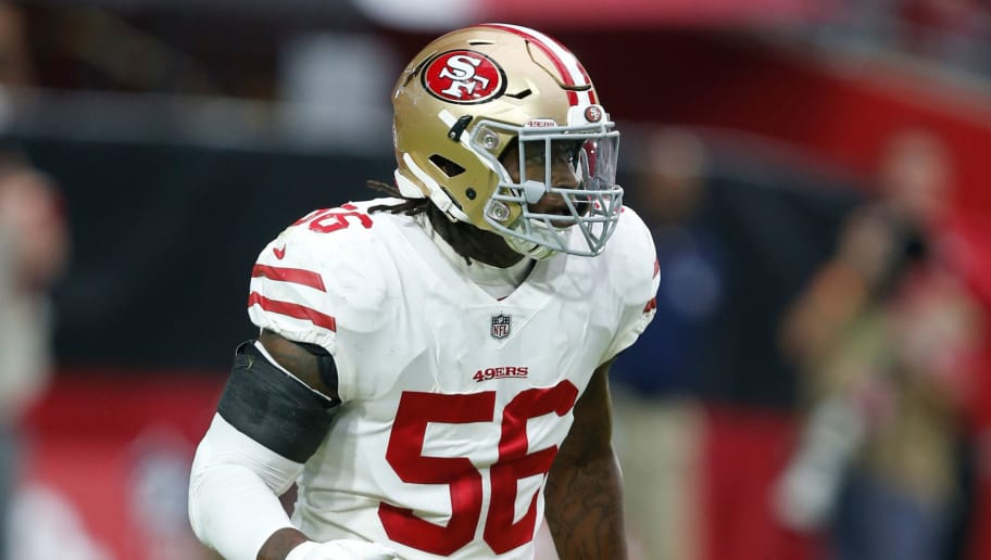 GLENDALE, AZ - OCTOBER 28: Reuben Foster #56 of the San Francisco 49ers defends during the game against the Arizona Cardinals at State Farm Stadium on October 28, 2018 in Glendale, Arizona. The Cardinals defeated the 49ers 18-15. (Photo by Michael Zagaris/San Francisco 49ers/Getty Images)