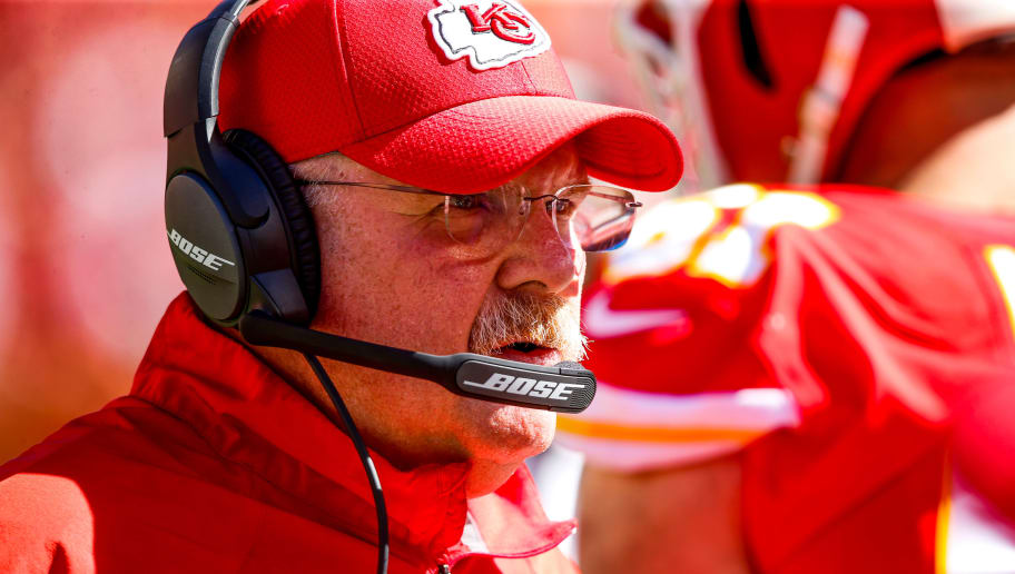 KANSAS CITY, MO - SEPTEMBER 23: Head coach Andy Reid of the Kansas City Chiefs talks on the headset during the game against the San Francisco 49ers at Arrowhead Stadium on September 23rd, 2018 in Kansas City, Missouri. (Photo by David Eulitt/Getty Images)
