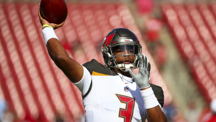 TAMPA, FL - NOVEMBER 25: Quarterback Jameis Winston #3 of the Tampa Bay Buccaneers warms up before the game at Raymond James Stadium on November 25, 2018 in Tampa, Florida. (Photo by Will Vragovic/Getty Images)