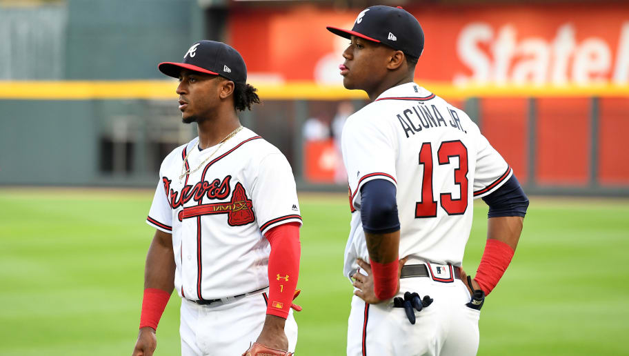 ATLANTA, GA - MAY 4:  Ozzie Albies #1 of the Atlanta Braves and Ronald Acuna Jr. #13 on the field against the San Francisco Giants at SunTrust Park on May 4, 2018 in Atlanta, Georgia. (Photo by Scott Cunningham/Getty Images)