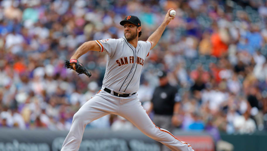 DENVER, CO - SEPTEMBER 3:  Starting pitcher Madison Bumgarner #40 of the San Francisco Giants delivers to home plate during the first inning against the Colorado Rockies at Coors Field on September 3, 2018 in Denver, Colorado. (Photo by Justin Edmonds/Getty Images)