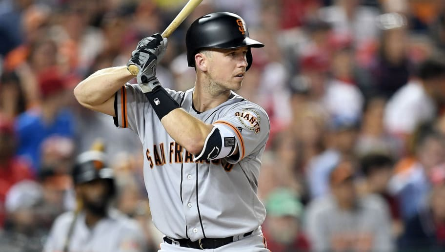 WASHINGTON, DC - JUNE 08:  Buster Posey #28 of the San Francisco Giants bats against the Washington Nationals at Nationals Park on June 8, 2018 in Washington, DC.  (Photo by G Fiume/Getty Images)