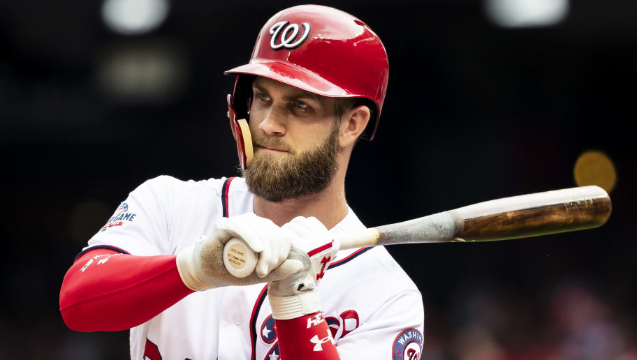 WASHINGTON, DC - JUNE 10: Bryce Harper #34 of the Washington Nationals at bat against the San Francisco Giants during the first inning at Nationals Park on June 10, 2018 in Washington, DC.  (Photo by Scott Taetsch/Getty Images)