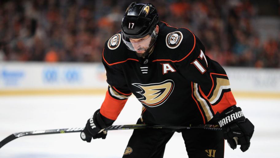 ANAHEIM, CA - APRIL 14:  Ryan Kesler #17 of the Anaheim Ducks looks on during the third  period in Game Two of the Western Conference First Round against the San Jose Sharks  during the 2018 NHL Stanley Cup Playoffs  at Honda Center on April 14, 2018 in Anaheim, California.  THe San Jose Sharks defeated the Anaheim Ducks 3-2.   (Photo by Sean M. Haffey/Getty Images)
