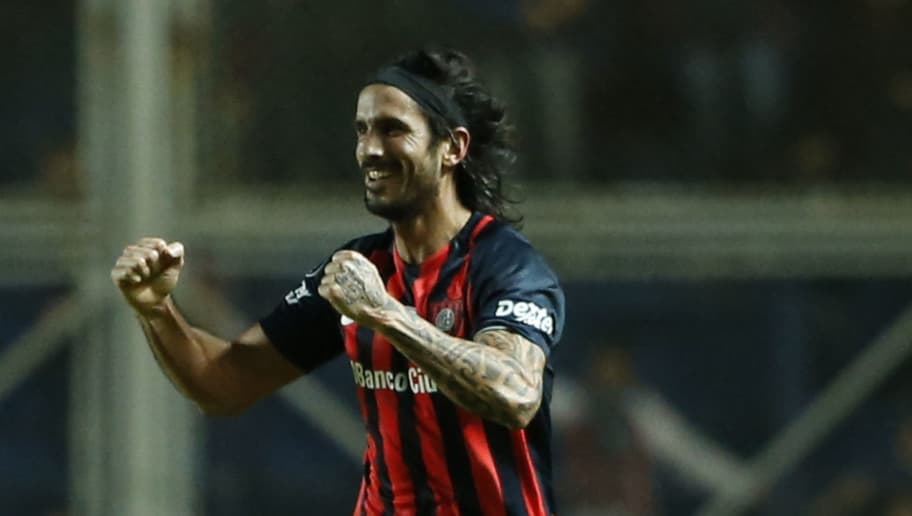 BUENOS AIRES, ARGENTINA - MAY 17:  Marcos Angeleri of San Lorenzo celebrates after scoring the first goal of his team during a group stage match between San Lorenzo and Flamengo as part of Copa CONMEBOL Libertadores Bridgestone 2017 at Pedro Bidegain Stadium on May 17, 2017 in Buenos Aires, Argentina. (Photo by Gabriel Rossi/LatinContent/Getty Images)