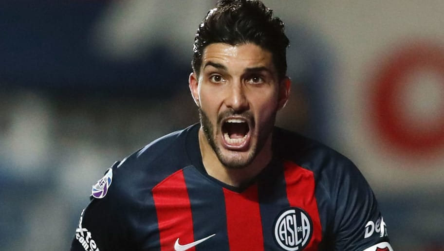 NUEVA POMPEYA, ARGENTINA - SEPTEMBER 01: Nicolas Blandi of San Lorenzo celebrate after scoring the tying goal during a match between San Lorenzo and River Plate as part of Superliga Argentina 2018/19 at Estadio Pedro Bidegain on September 1, 2018 in Buenos Aires, Argentina.  (Photo by Gustavo Ortiz/Jam Media/Getty Images)