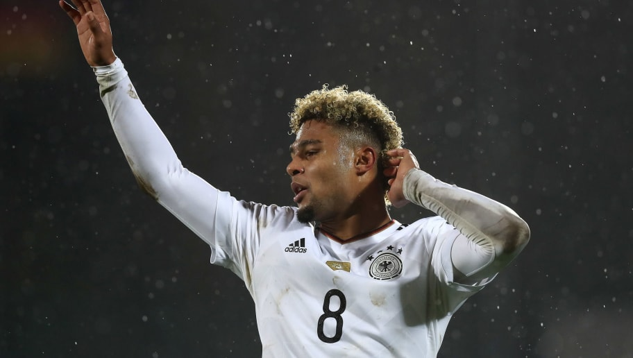 SAN MARINO, ITALY - NOVEMBER 11:  Serge Gnabry of Germany reacts during the FIFA 2018 World Cup Qualifier between San Marino and Germany at Stadio Olimpico on November 11, 2016 in San Marino.  (Photo by Alexander Hassenstein/Bongarts/Getty Images)