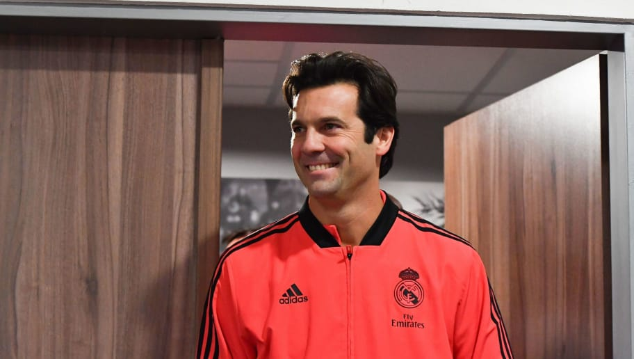 Real Madrid's Argentinian coach Santiago Solari arrives for a press conference on the eve of the UEFA Champions League group G football match Viktoria Plzen v Real Madrid in Plzen, Czech Republic on November 6, 2018. (Photo by JOE KLAMAR / AFP)        (Photo credit should read JOE KLAMAR/AFP/Getty Images)