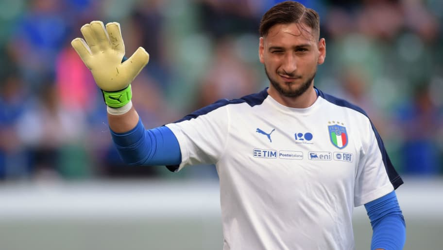 ST GALLEN, SWITZERLAND - MAY 28:  Gianluigi Donnarumma of Italy looks on during warm up of the International Friendly match between Saudi Arabia and Italy on May 28, 2018 in St Gallen, Switzerland.  (Photo by Pier Marco Tacca/Getty Images)