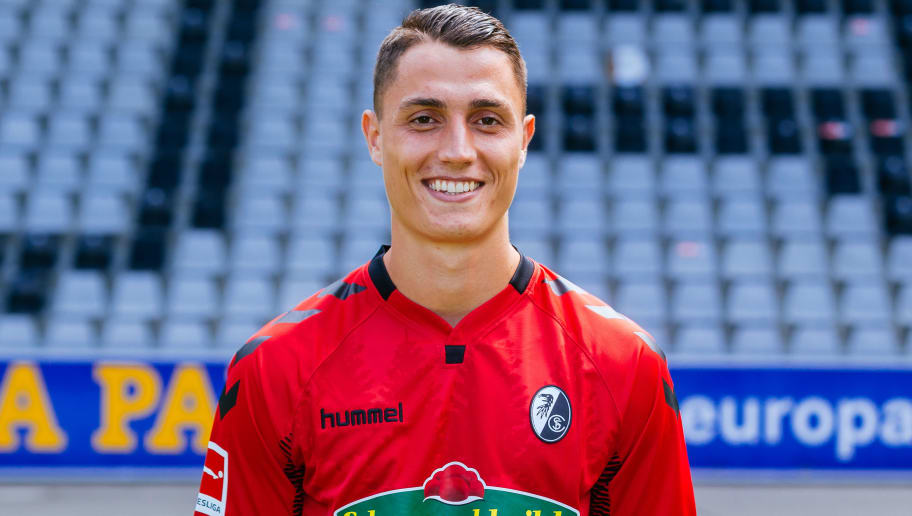 FREIBURG IM BREISGAU, GERMANY - AUGUST 01:  Vincent Sierro of SC Freiburg poses during the team presentation at Schwarzwald-Stadion on August 1, 2017 in Freiburg im Breisgau, Germany.  (Photo by Thomas Niedermueller/Bongarts/Getty Images)