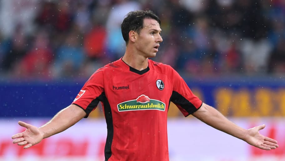 FREIBURG GERMANY - AUGUST 25: Nicolas Hoefler of SC Freiburg reacts during the Bundesliga match between Sport Club Freiburg and Eintracht Frankfurt at Schwarzwald-Stadion on August 25, 2018 in Freiburg, Germany.  (Photo by Michael Kienzler/Bongarts/Getty Images)