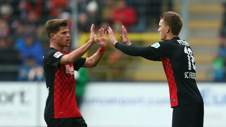 FREIBURG IM BREISGAU, GERMANY - FEBRUARY 14: Nils Petersen of Freiburg replaces Florian Niederlechner during the Second Bundesliga match between SC Freiburg and Fortuna Duesseldorf at Schwarzwald-Stadion on February 14, 2016 in Freiburg im Breisgau, Germany.  (Photo by Alex Grimm/Bongarts/Getty Images)