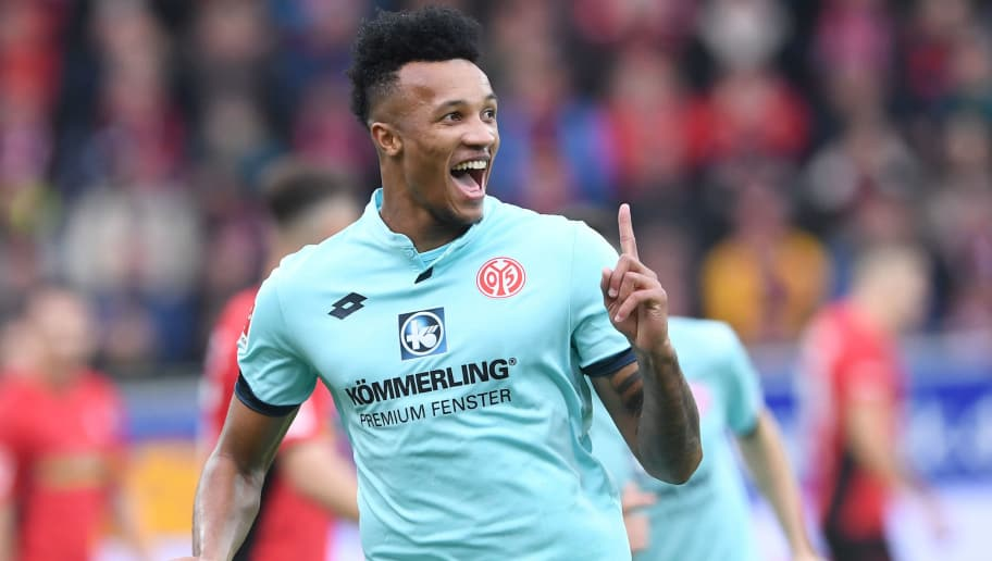 FREIBURG GERMANY - NOVEMBER 10: Jean-Philippe Gbamin of FSV Mainz 05 celebrate his opening goal during the Bundesliga match between Sport Club Freiburg and Mainz 05 at Schwarzwald-Stadion on November 10, 2018 in Freiburg, Germany.  (Photo by Michael Kienzler/Bongarts/Getty Images)