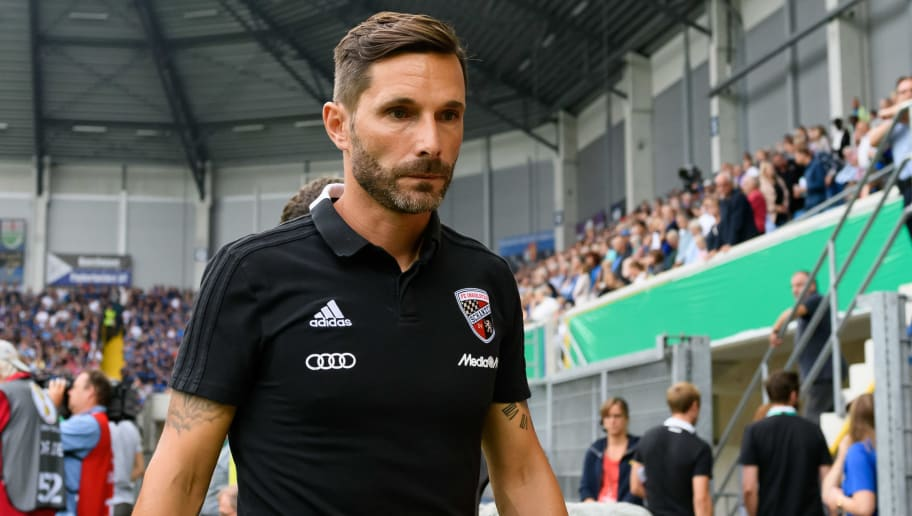 PADERBORN, GERMANY - AUGUST 20: Head coach Stefan Leitl of Ingolstadt looks on during the DFB Cup first round match between SC Paderborn 07 and FC Ingolstadt 04 at Benteler Arena on August 20, 2018 in Paderborn, Germany. (Photo by TF-Images/Getty Images)