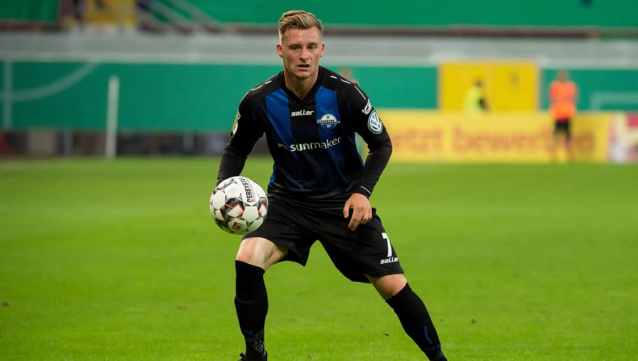 PADERBORN, GERMANY - AUGUST 20: Marlon Ritter of Paderborn controls the ball during the DFB Cup first round match between SC Paderborn 07 and FC Ingolstadt 04 at Benteler Arena on August 20, 2018 in Paderborn, Germany. (Photo by TF-Images/Getty Images)