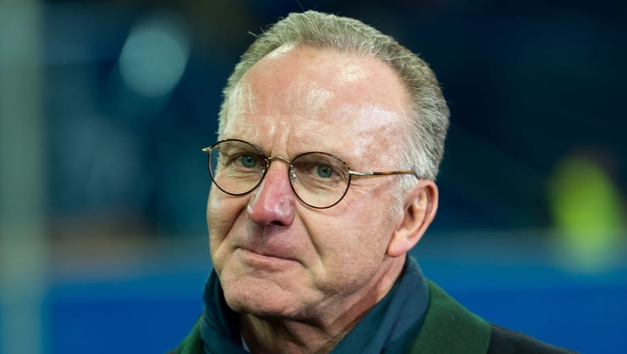PADERBORN, GERMANY - FEBRUARY 06: Karl-Heinz Rummenigge of Bayern Muenchen looks on during the DFB Cup match between SC Paderborn and Bayern Muenchen at Benteler Arena on February 6, 2018 in Paderborn, Germany. (Photo by TF-Images/TF-Images via Getty Images)